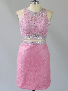 Chic Beading Cocktail Dresses Baby Pink Zipper Sleeveless Mini Length