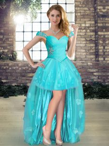 Off The Shoulder Sleeveless Tulle Prom Evening Gown Beading and Appliques Lace Up