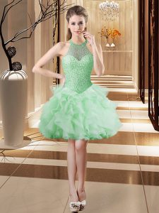 Apple Green Tulle Lace Up Prom Evening Gown Sleeveless Mini Length Beading and Ruffles