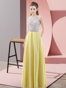 Yellow Empire Satin Scoop Sleeveless Beading Floor Length Backless Dress for Prom