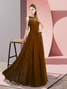 Brown Empire Scoop Sleeveless Chiffon Floor Length Zipper Lace Prom Evening Gown