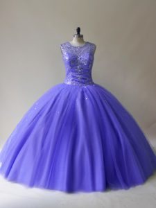 Scoop Sleeveless Quinceanera Dresses Floor Length Beading Purple Tulle