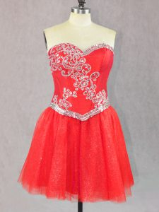 Mini Length Lace Up Cocktail Dress Red for Prom and Party with Beading