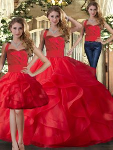 Dramatic Red Sweet 16 Quinceanera Dress Military Ball and Sweet 16 and Quinceanera with Ruffles Halter Top Sleeveless Lace Up