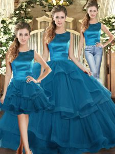 Most Popular Scoop Sleeveless Lace Up Quinceanera Dresses Teal Tulle