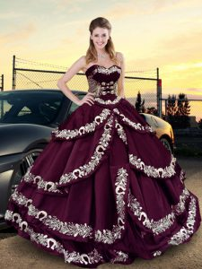 Purple Sweetheart Lace Up Embroidery and Ruffled Layers Ball Gown Prom Dress Sleeveless