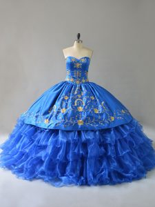 Satin Sweetheart Sleeveless Lace Up Embroidery and Ruffles Vestidos de Quinceanera in Royal Blue