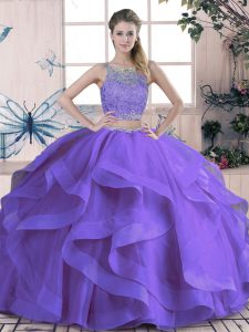 Two Pieces Sweet 16 Dresses Purple Scoop Tulle Sleeveless Floor Length Lace Up