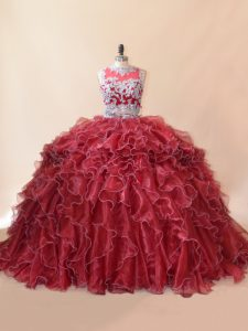 Enchanting Red Zipper Scoop Beading and Lace and Appliques Quinceanera Dress Organza Sleeveless Brush Train