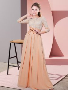 Extravagant Peach Empire Chiffon Scoop 3 4 Length Sleeve Lace and Belt Floor Length Side Zipper Vestidos de Damas