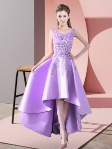 Sleeveless Satin High Low Zipper Dama Dress for Quinceanera in Lavender with Lace