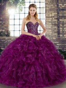 Purple Sleeveless Floor Length Beading and Ruffles Lace Up Quinceanera Gowns