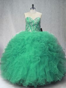 Superior Tulle Sleeveless Floor Length Quinceanera Gowns and Beading and Ruffles