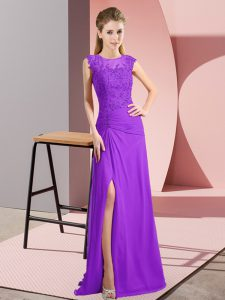 Elegant Floor Length Column/Sheath Sleeveless Purple Pageant Dress for Womens Zipper