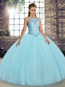 Free and Easy Aqua Blue Ball Gowns Tulle Scoop Sleeveless Embroidery Floor Length Lace Up Sweet 16 Quinceanera Dress