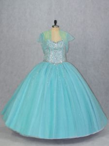 Captivating Sleeveless Lace Up Floor Length Beading Sweet 16 Quinceanera Dress