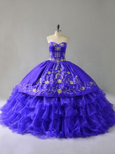 Sophisticated Blue Sleeveless Floor Length Embroidery and Ruffled Layers Lace Up 15 Quinceanera Dress