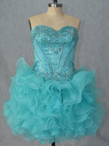 Custom Made Sweetheart Sleeveless Organza Dress for Prom Beading and Ruffles Lace Up
