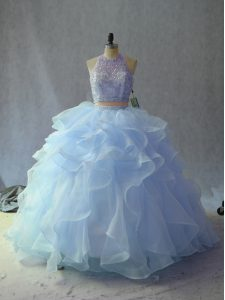 Cute Sleeveless Backless Quinceanera Dresses in Blue with Beading and Ruffles