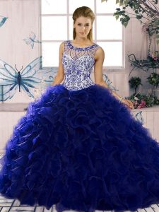 Purple Scoop Neckline Beading and Ruffles Vestidos de Quinceanera Sleeveless Lace Up