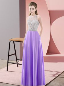 Fine Scoop Sleeveless Backless Prom Evening Gown Lavender Satin