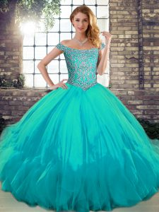 Aqua Blue Tulle Lace Up Vestidos de Quinceanera Sleeveless Floor Length Beading and Ruffles