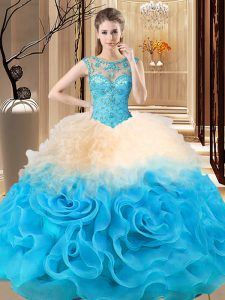 New Arrival Sleeveless Lace Up Floor Length Beading and Ruffles Quinceanera Dress
