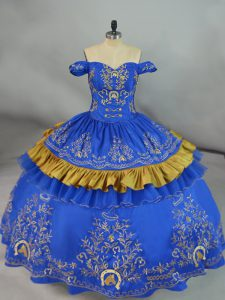 Custom Design Blue Sweet 16 Quinceanera Dress Sweet 16 and Quinceanera with Embroidery Off The Shoulder Sleeveless Lace Up