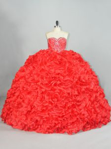 Fancy Red Ball Gowns Sweetheart Sleeveless Organza Brush Train Lace Up Beading and Ruffles 15 Quinceanera Dress
