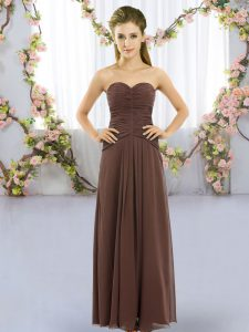 Pretty Sleeveless Lace Up Floor Length Ruching Court Dresses for Sweet 16