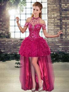 Cheap Fuchsia A-line Tulle Halter Top Sleeveless Beading and Ruffles High Low Lace Up Prom Party Dress