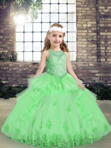 Lovely Yellow Green Ball Gowns Scoop Sleeveless Tulle Floor Length Lace Up Appliques Pageant Dress for Womens