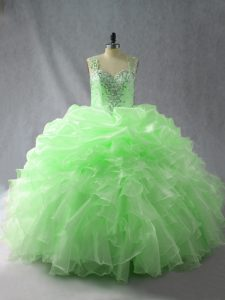 Straps Sleeveless Sweet 16 Dress Floor Length Beading and Ruffles and Pick Ups Organza