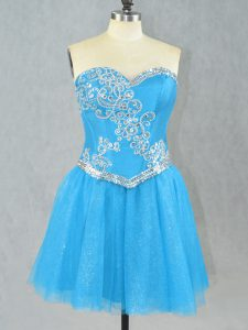 Custom Fit Sweetheart Sleeveless Club Wear Mini Length Beading Aqua Blue Tulle