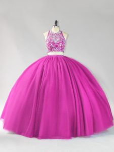 Lovely Fuchsia Halter Top Neckline Beading Sweet 16 Dress Sleeveless Backless