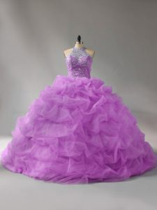Halter Top Sleeveless Organza Sweet 16 Dress Beading and Pick Ups Court Train Lace Up
