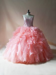 Pink Sweetheart Neckline Beading and Ruffles Sweet 16 Dress Sleeveless Lace Up