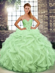 Sweetheart Sleeveless Lace Up Quinceanera Dresses Apple Green Tulle