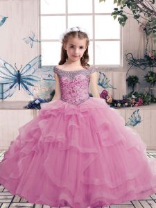 Scoop Sleeveless Pageant Dress Toddler Floor Length Beading Lilac Tulle