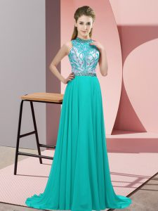 Colorful Turquoise Prom and Party with Beading Halter Top Sleeveless Brush Train Backless