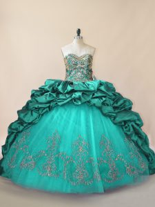 Romantic Sleeveless Beading and Pick Ups Lace Up Quinceanera Gowns with Turquoise Brush Train