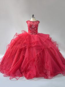 Attractive Scoop Sleeveless Organza 15 Quinceanera Dress Beading and Ruffles Brush Train Lace Up