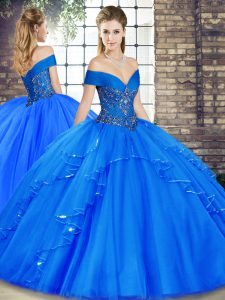 Royal Blue Tulle Lace Up Off The Shoulder Sleeveless Floor Length Quinceanera Dresses Beading and Ruffles