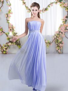 Admirable Empire Sleeveless Lavender Wedding Party Dress Sweep Train Lace Up