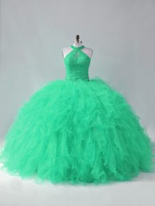 Lace Up Quinceanera Dress Turquoise for Sweet 16 and Quinceanera with Beading and Ruffles