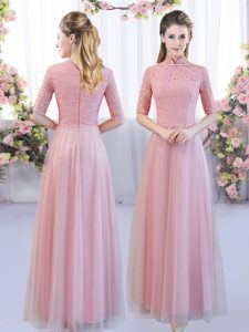 Pretty Floor Length Zipper Quinceanera Court Dresses Pink for Wedding Party with Lace