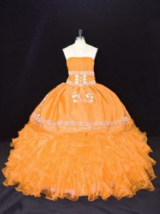 Beautiful Organza Sleeveless Floor Length Sweet 16 Quinceanera Dress and Embroidery and Ruffles