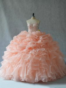 Enchanting Peach Vestidos de Quinceanera Sweet 16 and Quinceanera with Beading and Ruffles Strapless Sleeveless Lace Up
