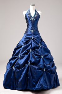 Perfect Halter Top Sleeveless Quinceanera Gown Floor Length Appliques and Pick Ups Royal Blue Taffeta