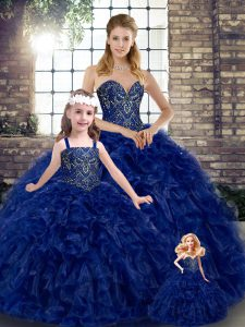 Royal Blue Organza Lace Up Sweetheart Sleeveless Floor Length Ball Gown Prom Dress Beading and Ruffles